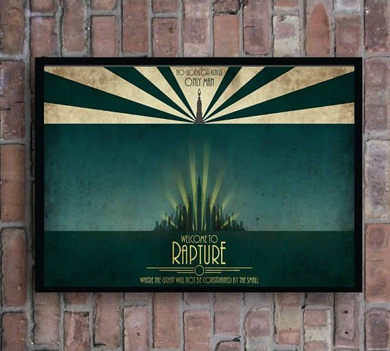 Bioshock Welcome To Rapture No Gods Or Kings Only Man Video Game Home Decor  Minimal Poster