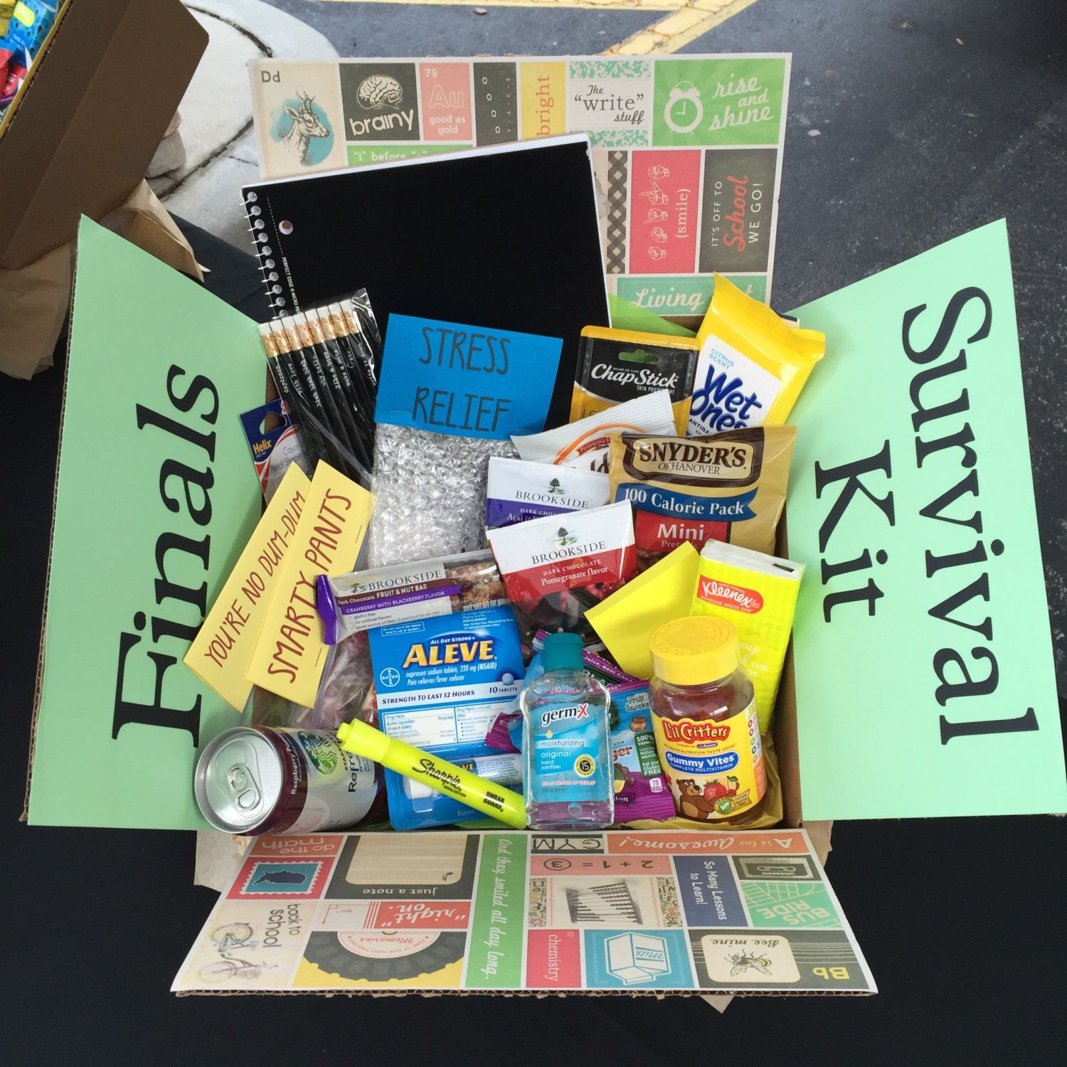 College Student Finals Survival Kit Care Package Gift Box College