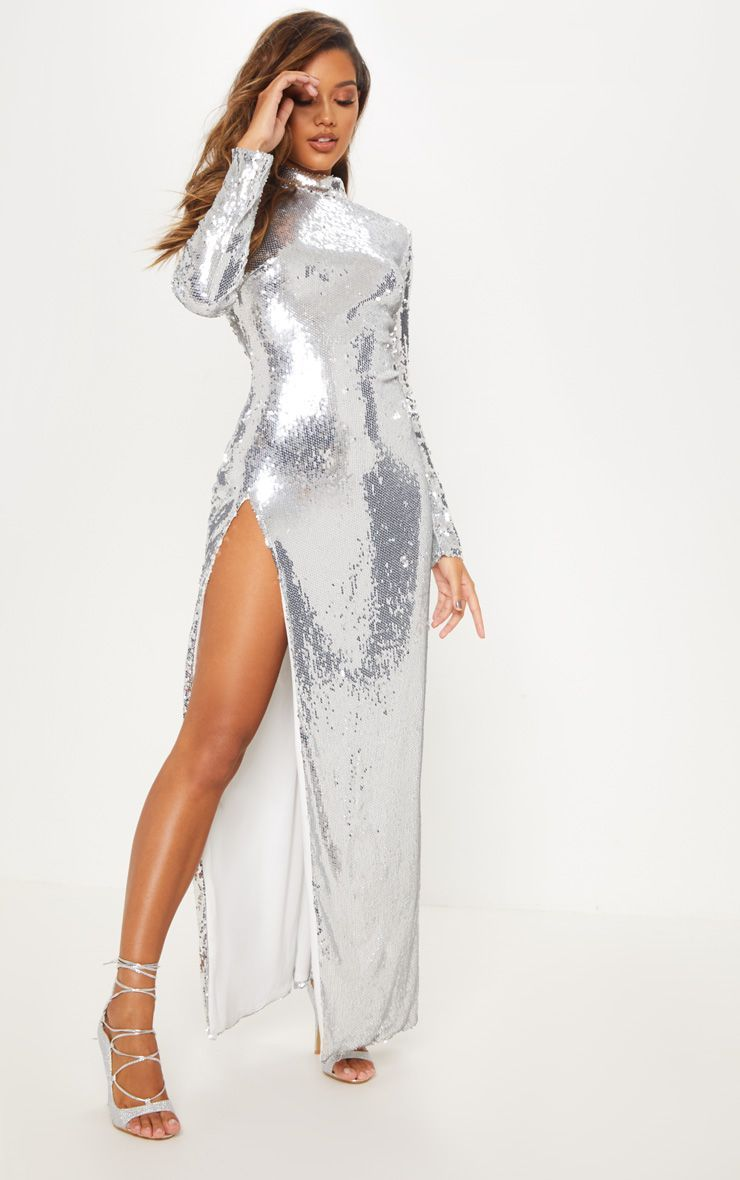 ed237f46 Silver Sequin Backless Maxi Dress in 2019 | NewYearsEve ideas ...