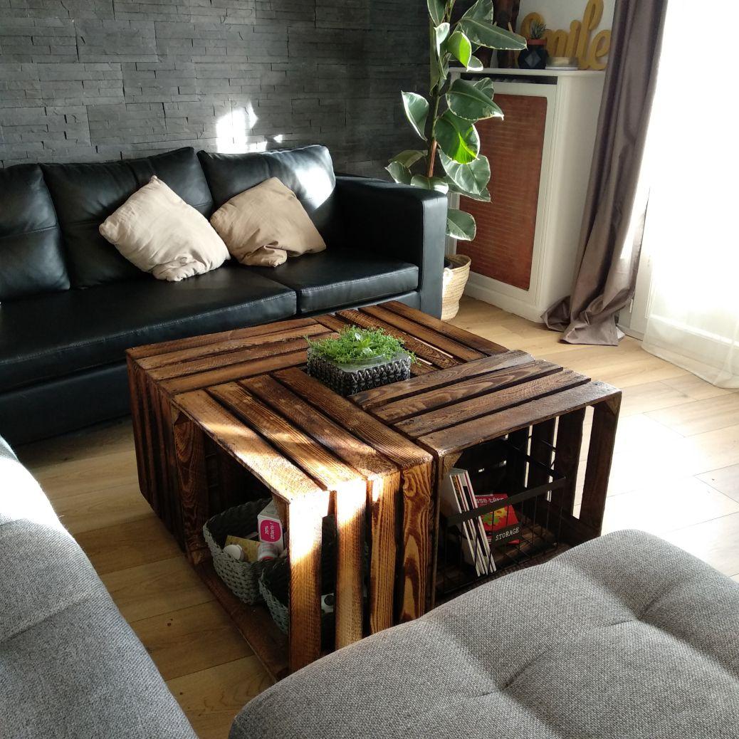 Ma Table Basse En Cagettes En 2h Chrono Cagettes Deco Table Basse Meubles En Caisse