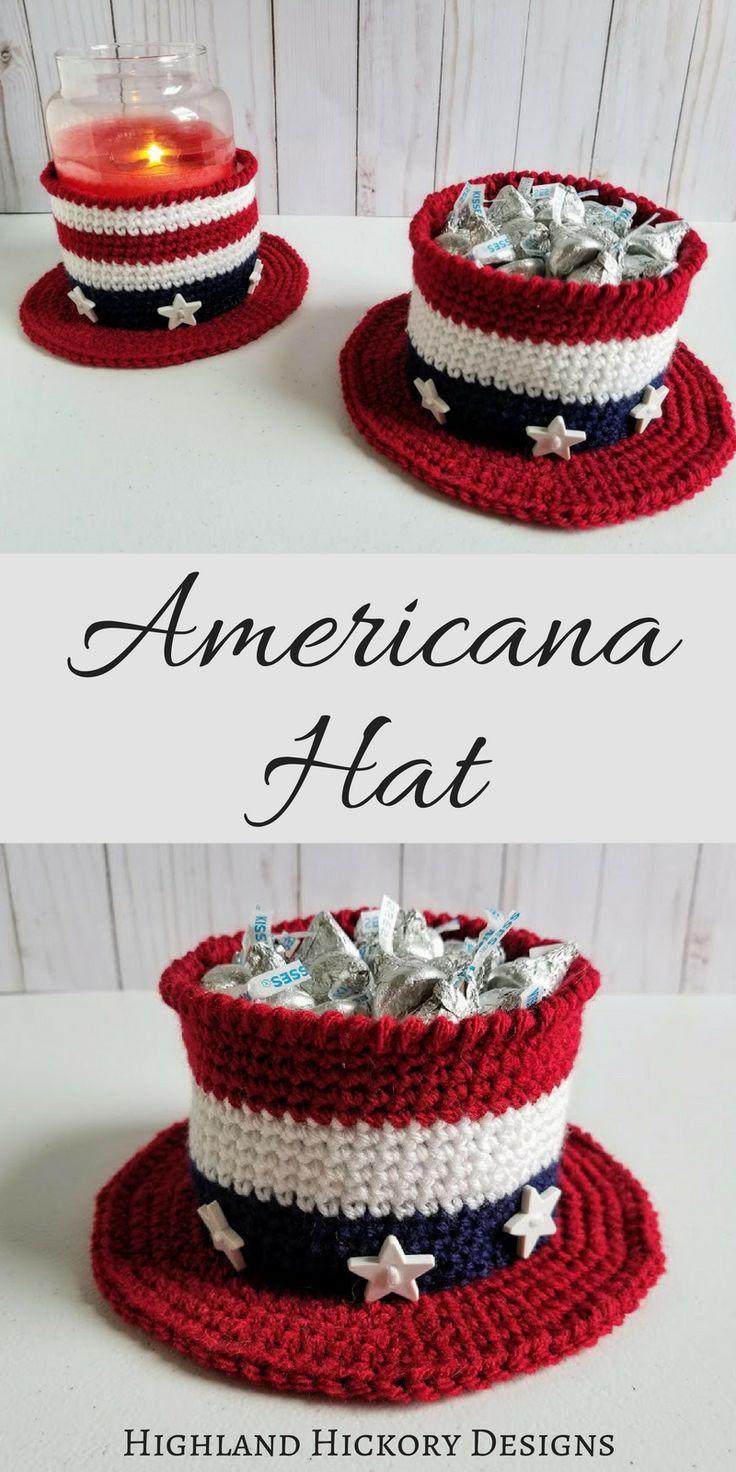 Americana Hat Crochet gifts, Crochet basket pattern
