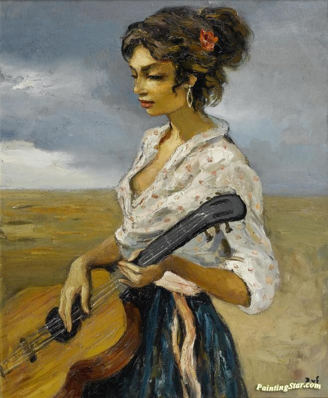 Rosette, Gypsy With Guitar Artwork by Marcel Dyf Hand-painted and Art Prints on canvas for sale,you can custom the size and frame