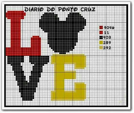 Mickey Mouse LOVE x-stitch | Going to learn Cross Stitch | Pinterest ...