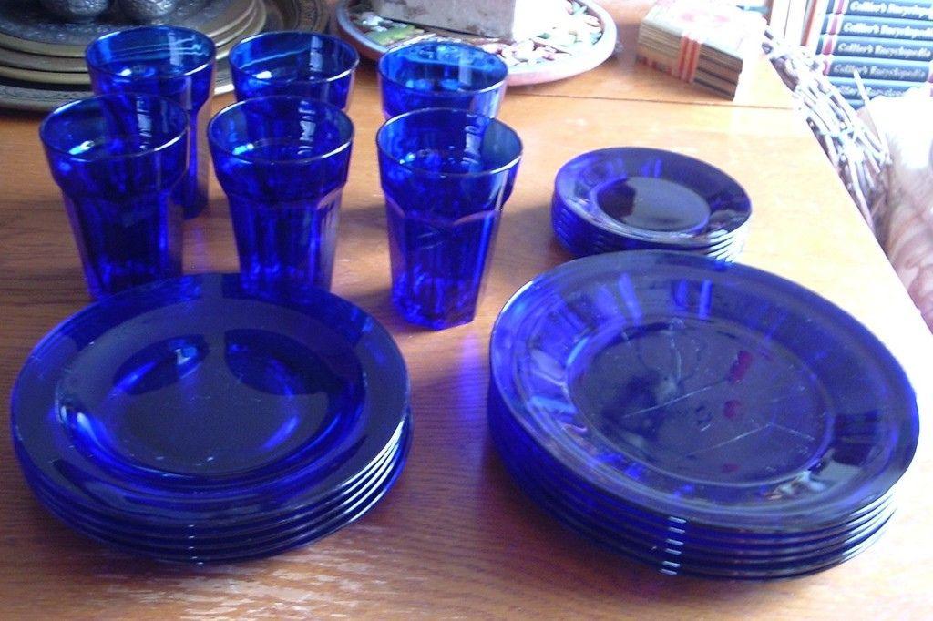 Cobalt Blue Glass Dishes Morning Blue Dinnerware Cobalt