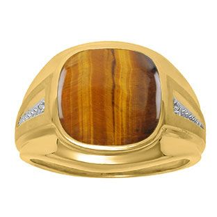 Diamond and Tiger Eye Men's Large Ring In Yellow Gold Father's Day 2015 Unique Jewelry Gift Presents and Ideas. Gemologica.com offers a large selection of rings, bracelets, necklaces, pendants and earrings crafted in 10K, 14K and 18K yellow, rose and white gold and sterling silver for that special dad. Our complete collection and sale of personalized and custom gifts for dad: www.gemologica.com/mens-jewelry-c-28.html
