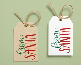 Printable gift tags from santa handlettered diy christmas do it printable gift tags from santa handlettered diy christmas do it yourself holiday solutioingenieria Images
