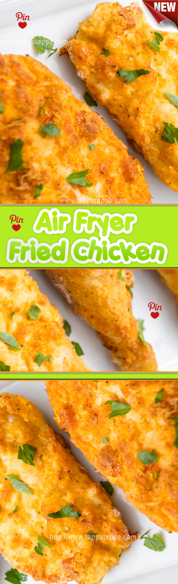 Air Fryer Fried #Chicken Recipe The one exception might be if you like a very thick breading on your fried chicken. If you double dip your chicken in flour for the coating its going to be hard to hydrate all that flour in an air fryer and youll almost certainly end up with floury spots that havent really cooked. #airfryerrecipes