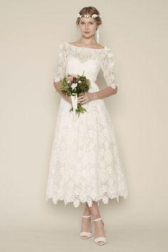 Tea Length Vintage Inspired Wedding Dresses - Ocodea.com