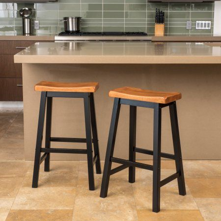 Noble House Paulson 29in Espresso Wood Saddle Stool Set