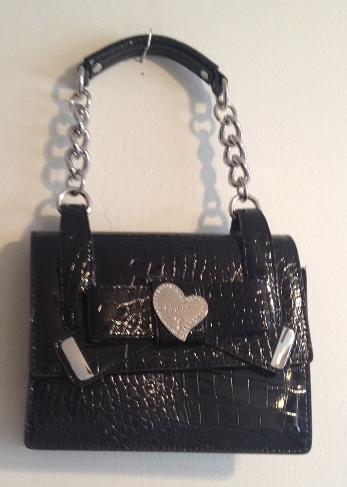 afaa6c979813 Guess Black Patent Vegan Leather Alligator Flap Shoulder Bag Heart Bling  Purse  GUESS  ShoulderBag