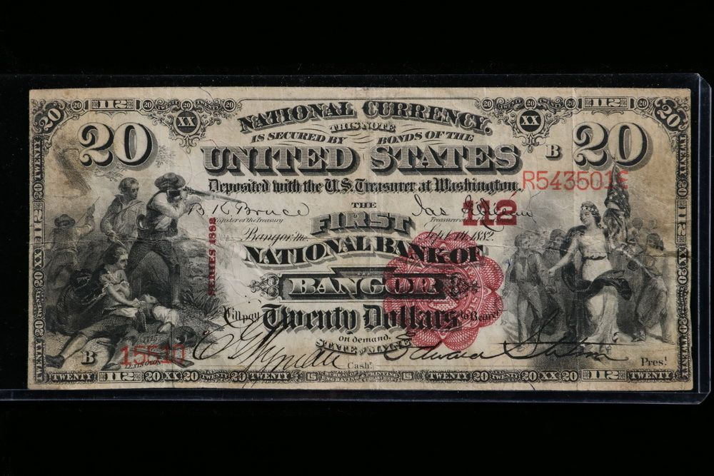 1882 Series 20 First National Bank Of Bangor National Currency Lovely Seal With Great Color Brown Black 1800s