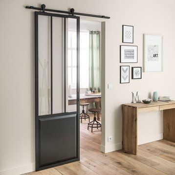ensemble porte coulissante atelier mdf rev tu avec le rail bol ro noir to home pinterest. Black Bedroom Furniture Sets. Home Design Ideas