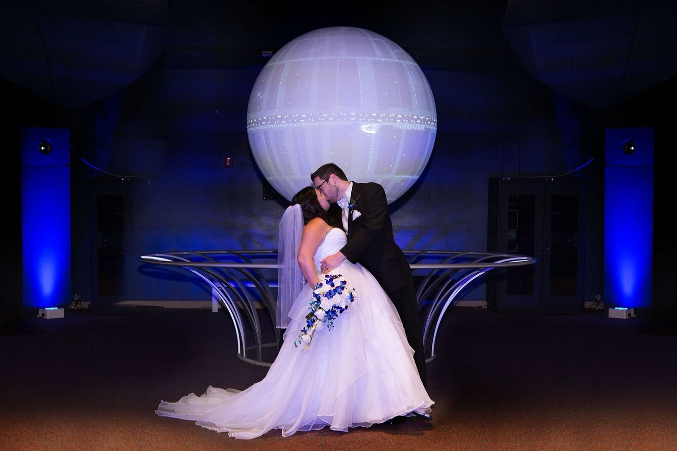 average price for wedding dj in new jersey%0A Our Planet Our Universe exhibit wedding ceremony at Orlando Science Center   Uplighting and photograph by Junction    Productions