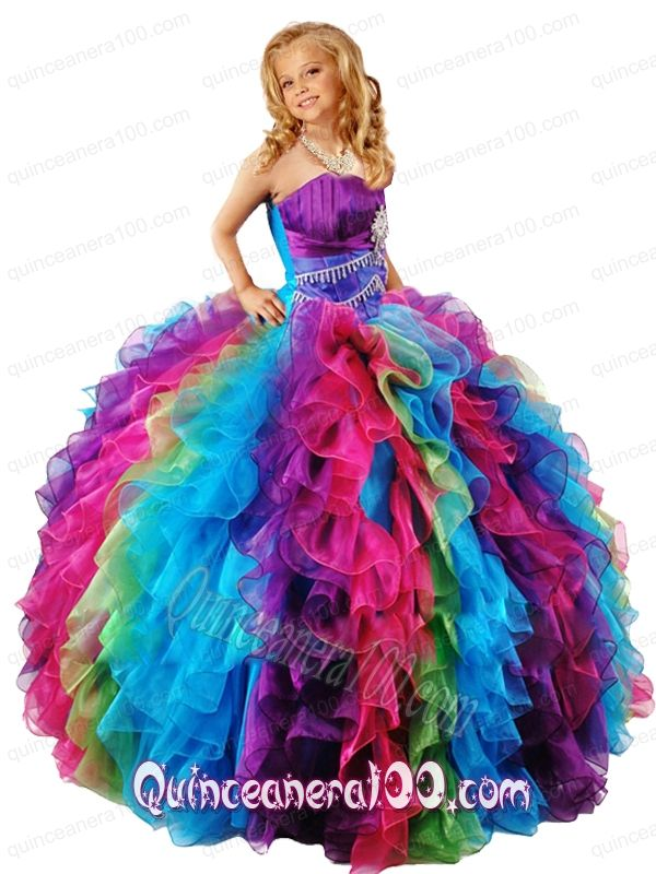 e087c332713 New Style Strapless Multi-color Little Girl Pageant Dress with Ruffles