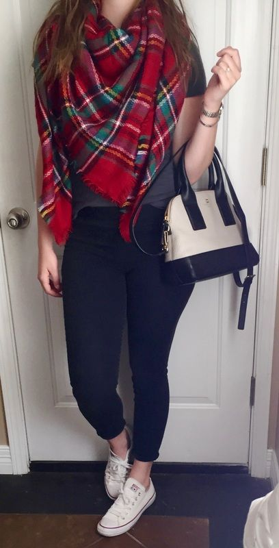 Blanket scarf, jeggings, converse, and kate spade purse- the perfect fall or winter outfit!  southerncomfortblog.weebly.com