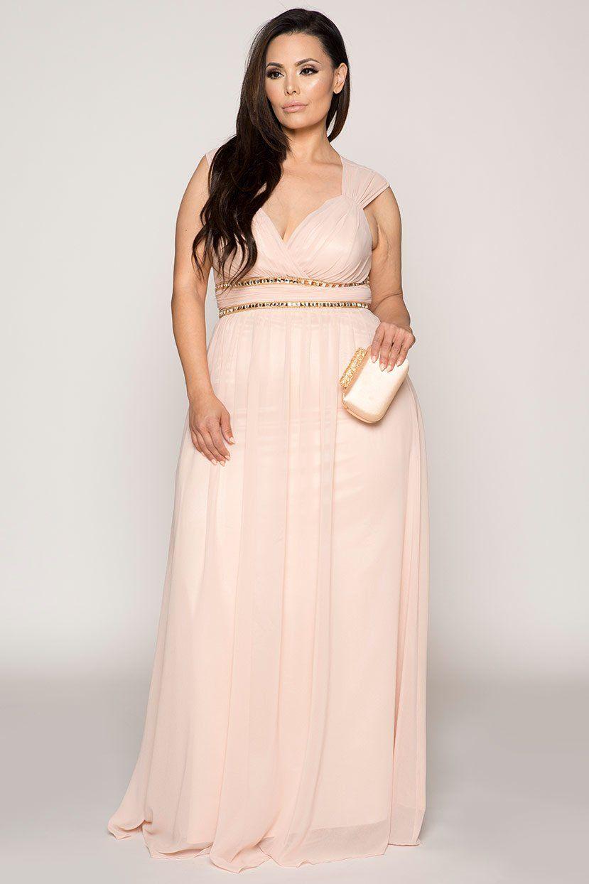 Plus Size Formal Dress - Plus Size Pastel Bridesmaid Wedding / Prom ...