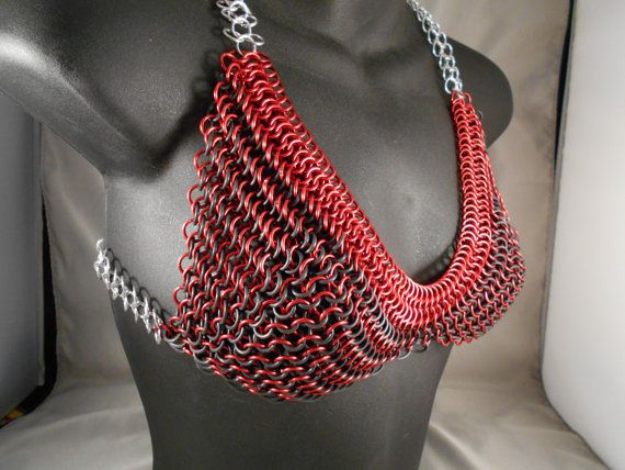 Stretchy Red Chainmail Bikini with Matching Ribbon by CnTStretchys, $100.00
