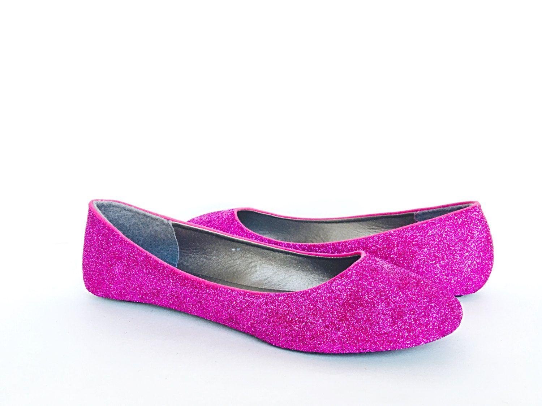 Pink Flats Glitter Shoes Fuchsia Ballet By Chelsiedeydesigns