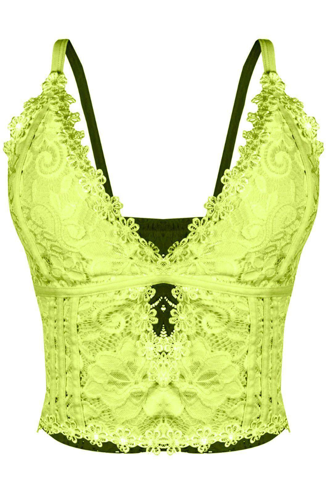 e774f960c5ecd Top Outlet Dri Cropped Tendencia Neon Renda Tiras Guippir Floral Alcinha  Verde Neon