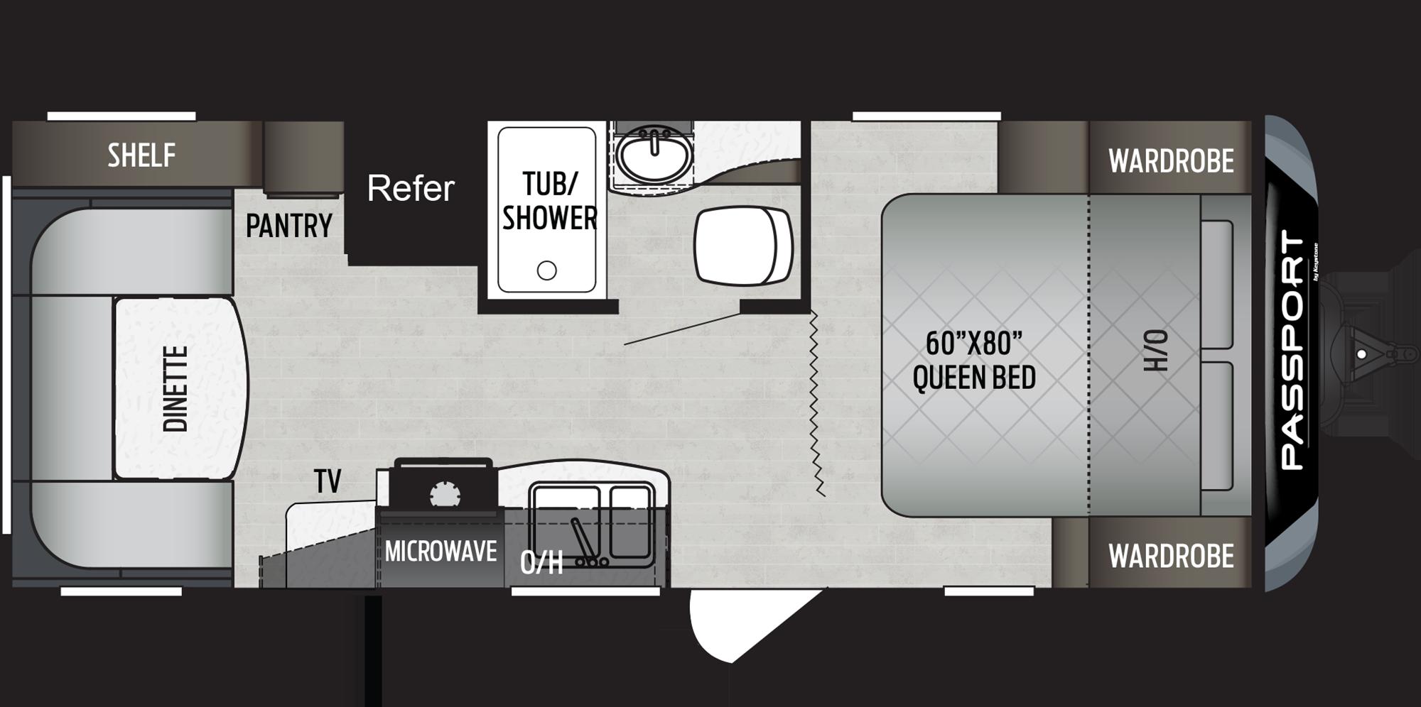Passport Travel Trailers 234qbwe Floorplan Keystone Rv Travel Trailer Floor Plans Travel Trailer Floor Plans