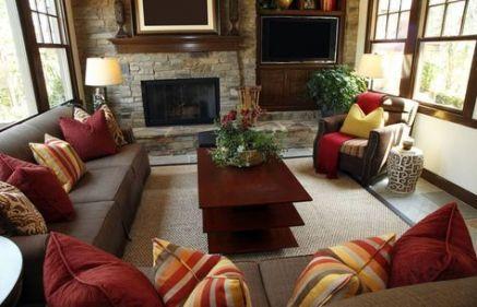 Living Room Decor Brown Couch Orange Interior Design 63+ Ideas images