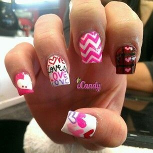 Cute Valentines Day Nails Acrylics Hearts Pink Nails In 2018
