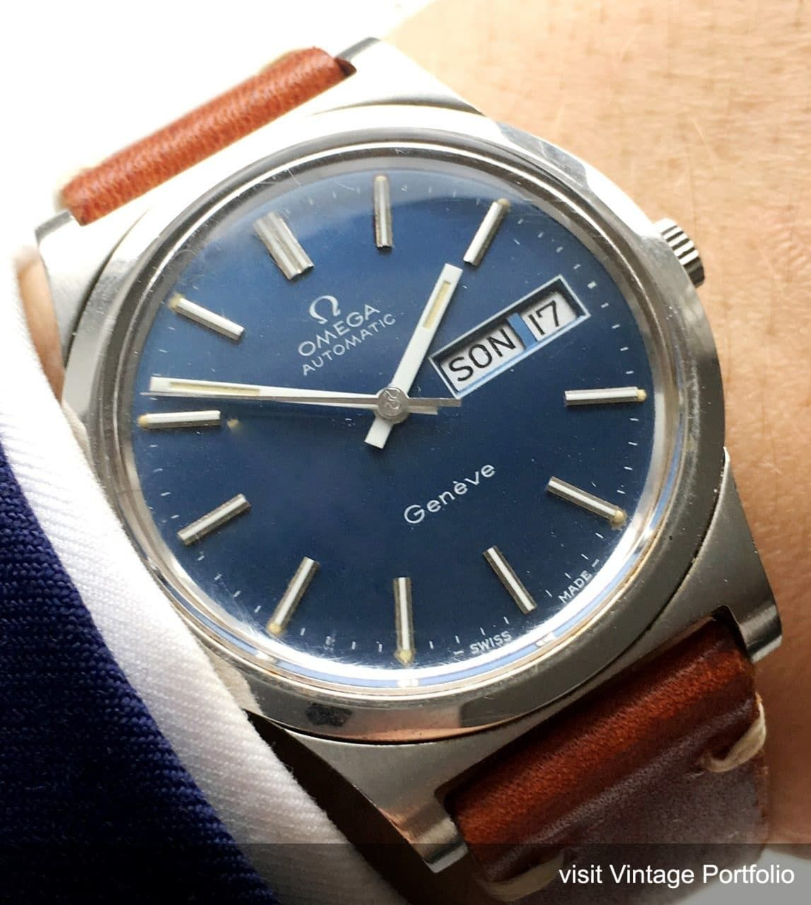 17ada8d4391 Amazing Omega Geneve Automatic Day Date blue Dial Steel