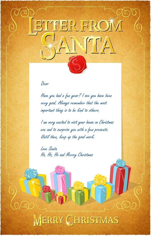 Letter from santa for Free printable letter from santa template