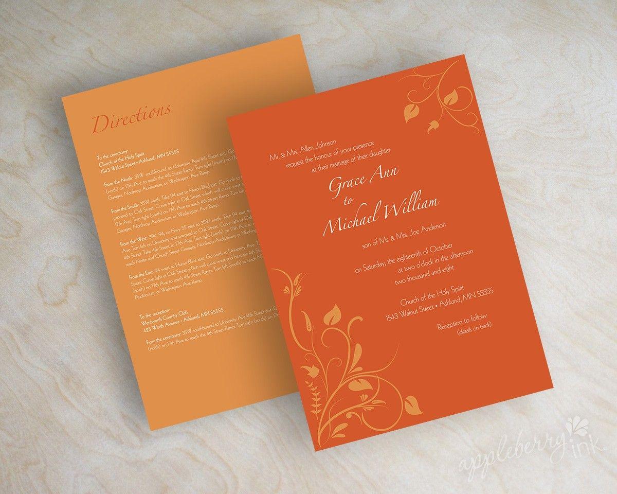 Wedding invitations, swirly flower vines in dark orange and pumpkin ...
