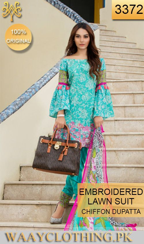 Wysa 3372 Front Embroidery Designer 3pc Lawn Suit With Chiffon
