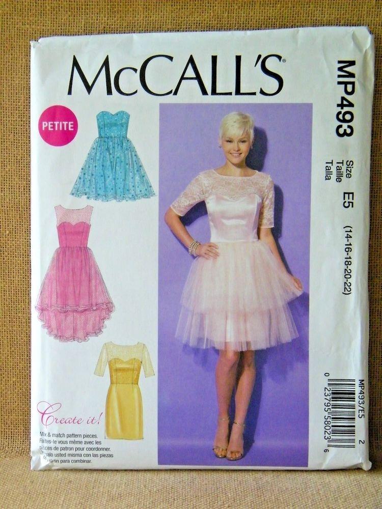 3c913e3b MCCALLS PATTERN MP493 7321 DRESSES ELEGANT MISS/PETITE SIZE 14 16 18 ...