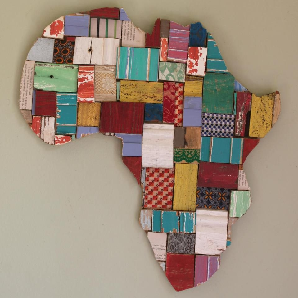 Wood Block Art Africa Shape Wood Art Crafts In 2019 South