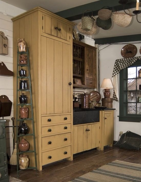 I Want Cupboards That Look Like This Primitive Kitchen
