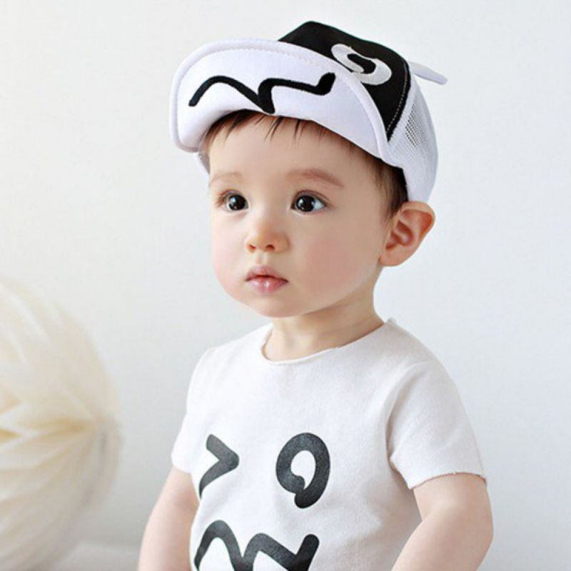 0602ff3588542 Cartoon Mesh Hats for Baby Cute Black and White Ears Design Baby Cap   Affiliate. 2017 New High Quality Kids ...