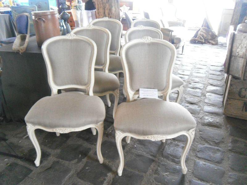6 Chaises De Style Louis Xv Peintes En Blanc Tapiss Lin Brut