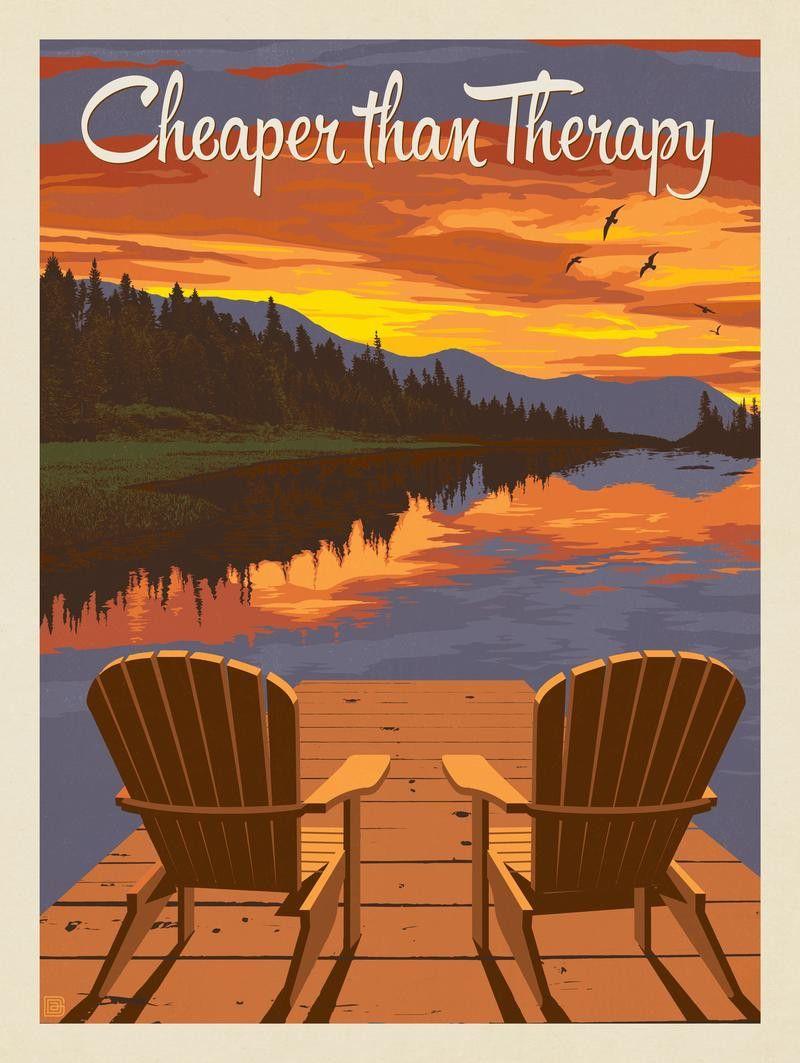 Anderson Design Group Lake And Lodge Cheaper Than Therapy Lake Decor Lake Art Vintage Poster Design