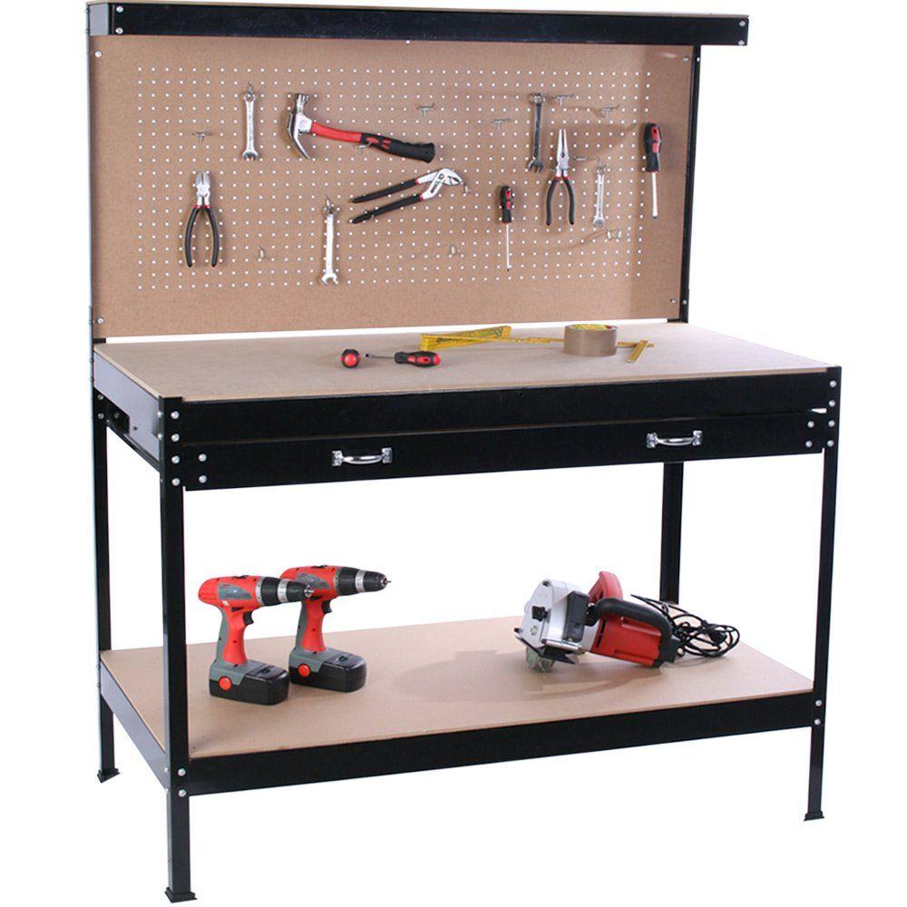 jago tabli d 39 atelier weba01 en bois et acier avec panneau outils et tiroir de. Black Bedroom Furniture Sets. Home Design Ideas
