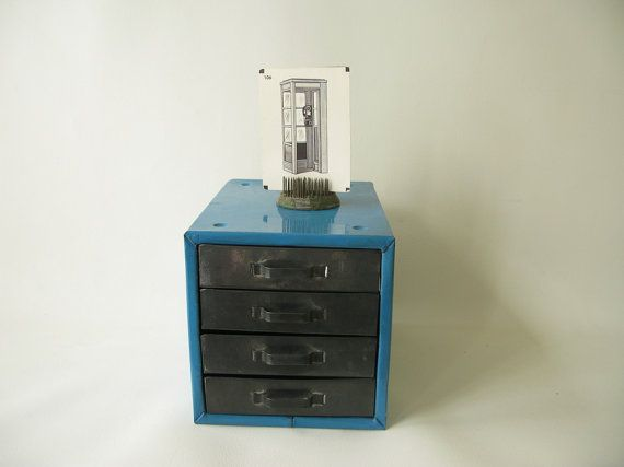Best Vintage Metal Parts Drawers Blue Silver Small Parts By 640 x 480