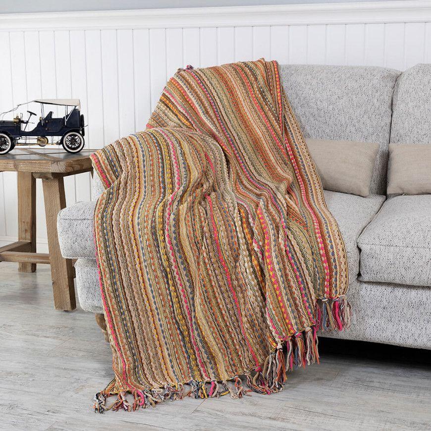 شال كنب متعدد الألوان Throw Blanket Blanket Sofa