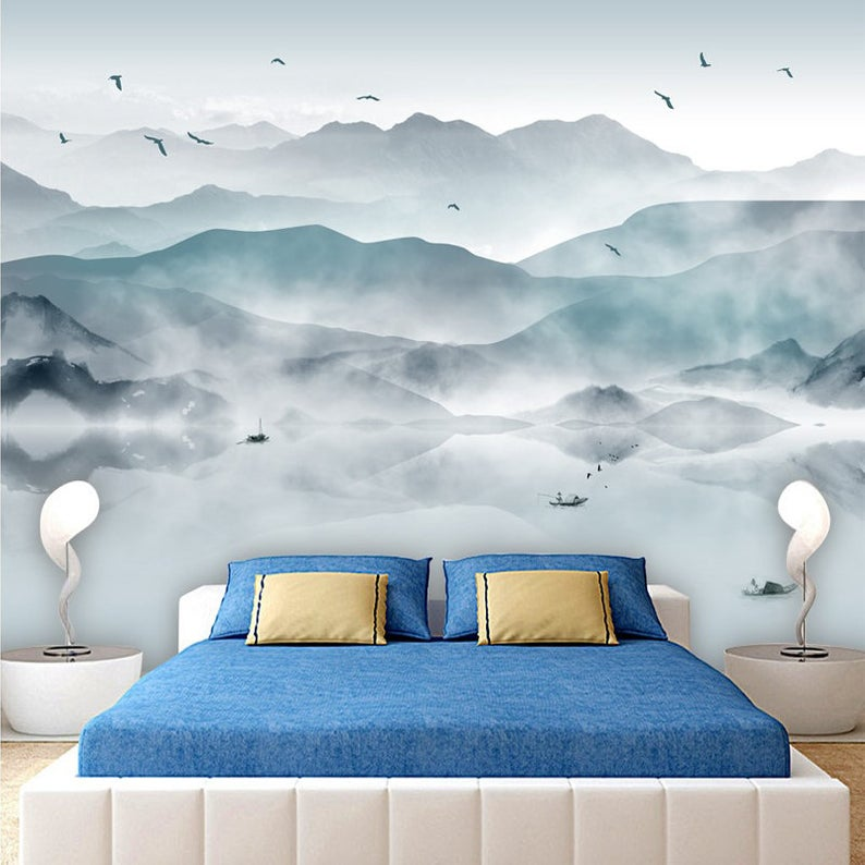 Hand Drawn Abstract Mood Mountains Wallpaper Wall Murals