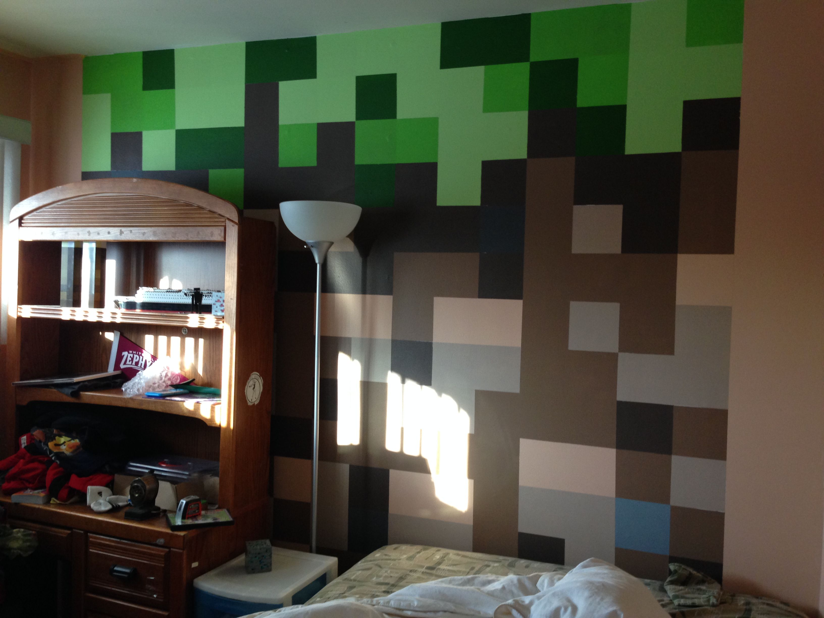 Minecraft bedroom dirt block wall minecraft bedroom for Minecraft lounge ideas