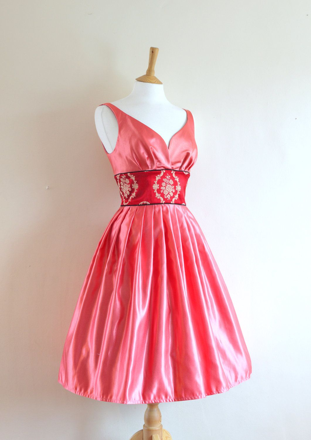 Uk us pink satin and red brocade prom dress maids