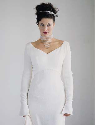Elizabeth Merlin bespoke wedding dress, 'Mimi' in embossed silk crepe. For more details and prices see www.elizabethmerlin.co.uk