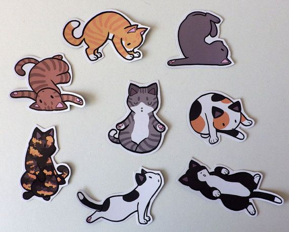 Cute yoga cat decorative magnets pack of 8 custom made от pannya