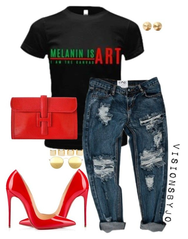 """""""Untitled #1491"""" by visionsbyjo on Polyvore featuring INC International Concepts, Hermès, Christian Louboutin, Eddie Borgo, Luv Aj and Mykita"""