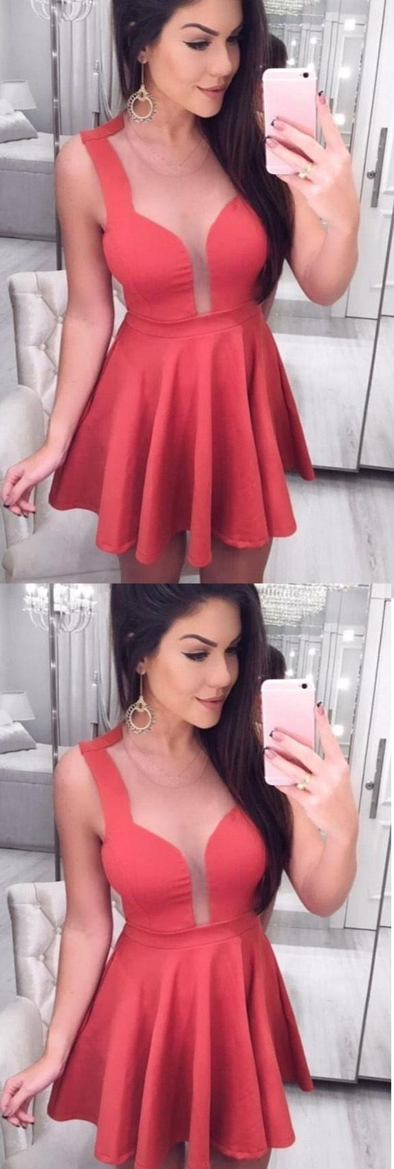 Discount sleeveless dresses short red homecoming prom dresses with