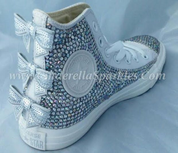 054dccc1531b White Chuck Taylor High Top Crystal Rhinestone Converse with seuin bow -  Mono leather