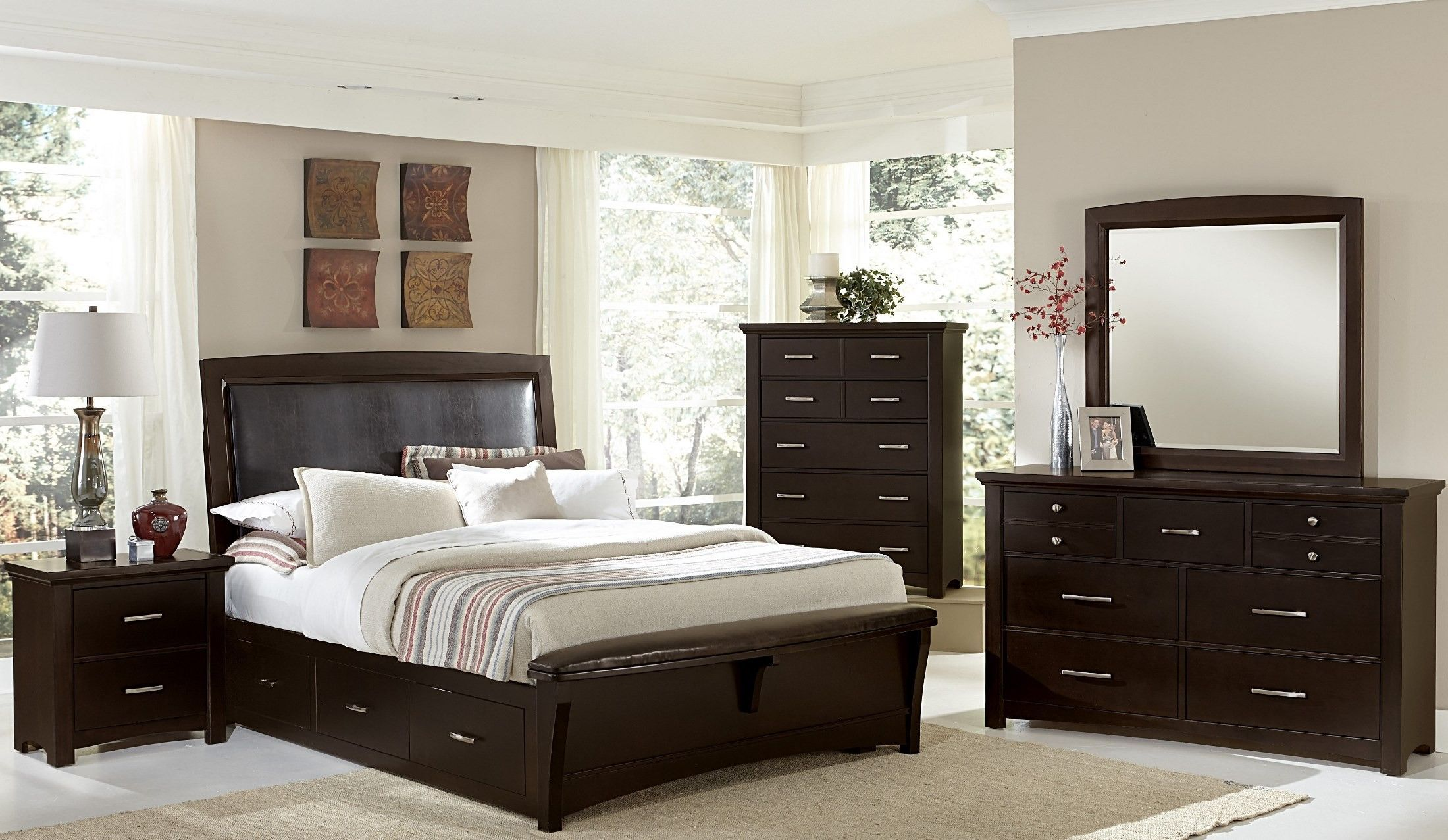 Transitions Merlot Youth Two Side Storage Upholstered Panel Bedroom ...