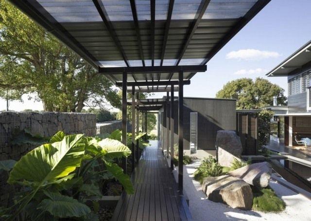 laubengang modern-Überdachung garten-ideen hauseingang gestalten, Gartenarbeit ideen