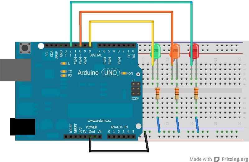 arduino tutorial - chapter 3.2: traffic light | traffic light ... arduino traffic light wiring diagram  pinterest